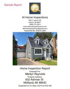 Sample home inspection report front page