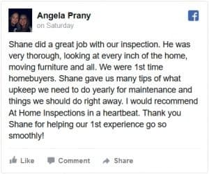 At Home Inspections Facebook Review by Angela