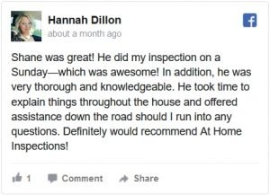 At Home Inspections Facebook Review by Hannah
