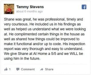 At Home Inspections Facebook Review by Tammy