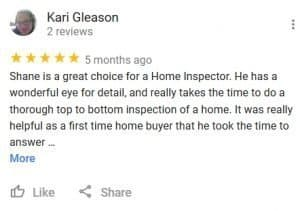 At Home Inspections Google Review by Kari
