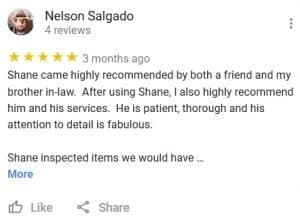 At Home Inspections Google Review by Nelson