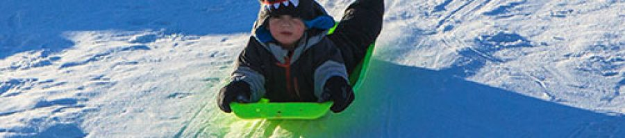 Down hill sledding at Irons Park, West Branch Michigan